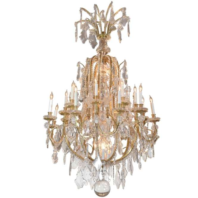 Important 19th C Baccarat And Crystal Bronze Dore Chandelier 1