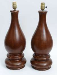 Mid-Century Pair of Dark Hand-Turned Wood Table Lamps For ...