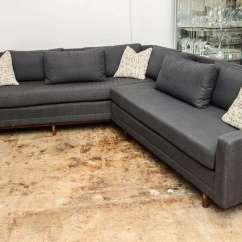 Grey Tweed Sectional Sofa Pea Paul Mccobb Sleek Mid-century Modern Vintage ...