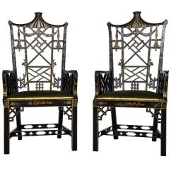 Chinese Chippendale Chairs Baseball Glove Leather Chair High Back At 1stdibs