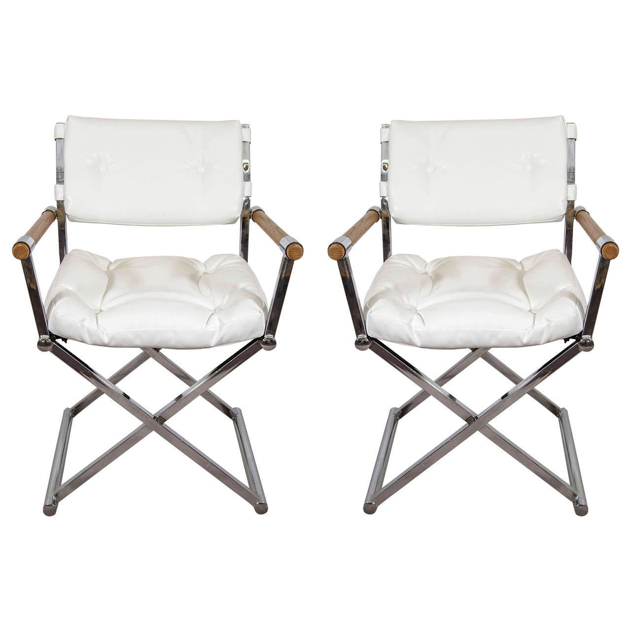 directors chair white outdoor pool lounge chairs a midcentury pair of leather director s attributed to milo baughman for sale