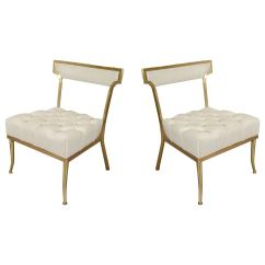 White Leather Slipper Chair Swing Gsc-majka-3s-ge Hollywood Regency Pair Of And Brass Chairs