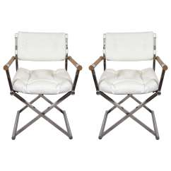 Leather Directors Chair And Stool Cushions A Midcentury Pair Of White Director 39s Chairs
