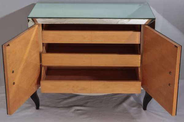 Mirrored Two Doors Chest Of Drawer 1940-50 1stdibs