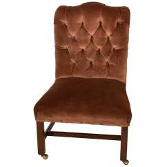 Brown Leather Slipper Chair Scoop Back Velvet Dining Chairs Eng Georgian Style Tufted At 1stdibs