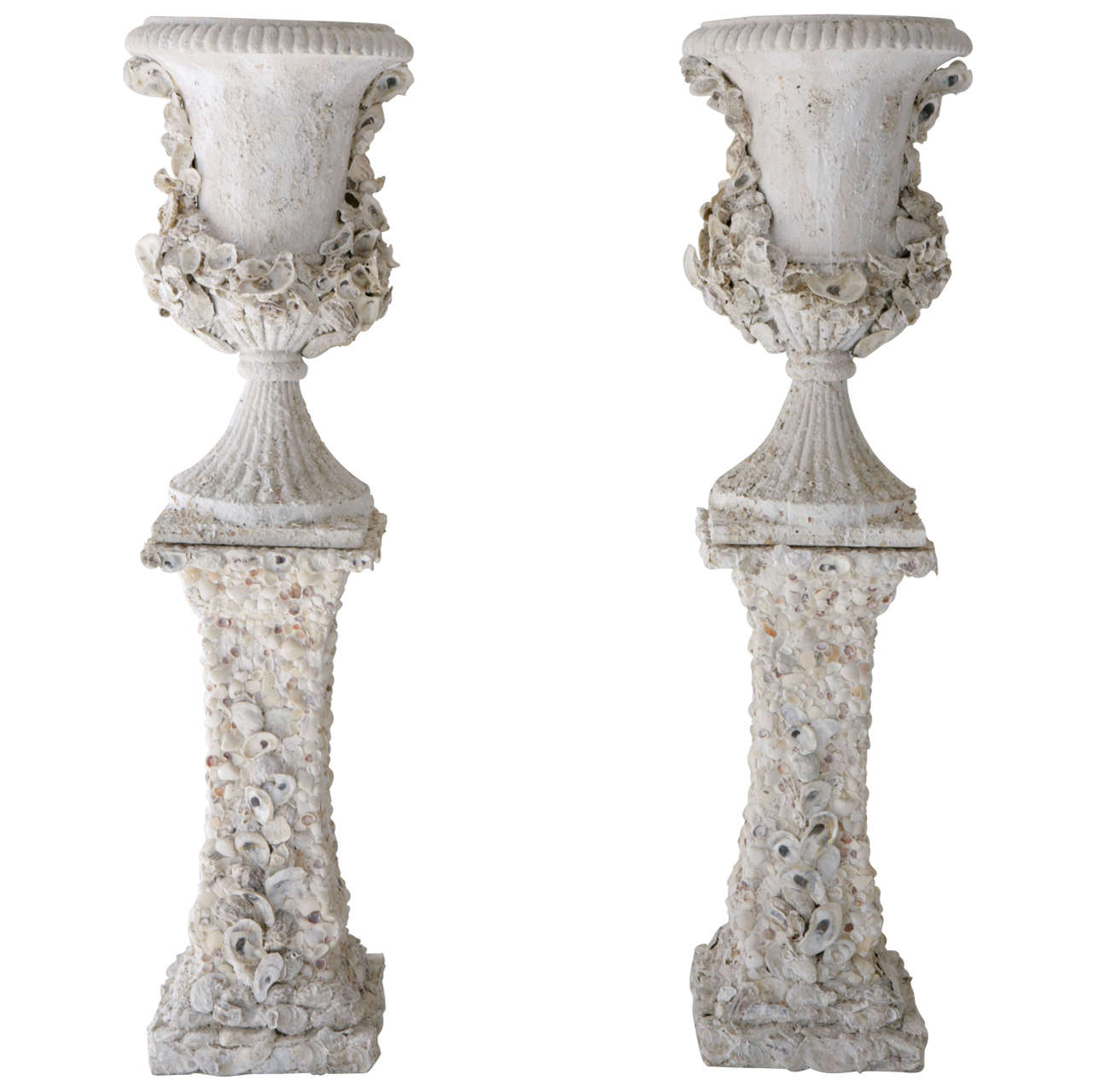 Grotto Style Shell Encrusted Urns On Pedestals At 1stdibs