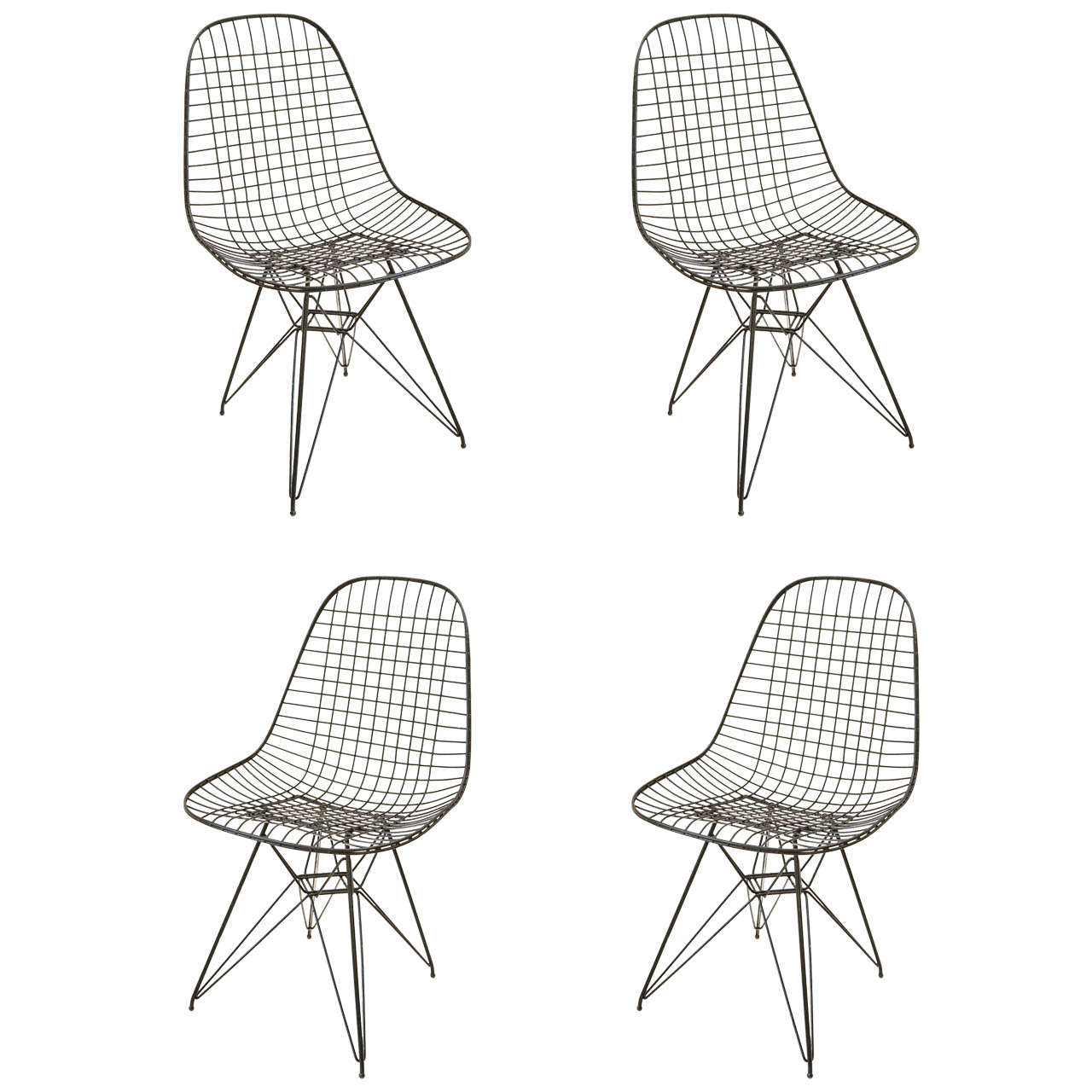 Set of Four Herman Miller Eames Wire Chairs at 1stdibs