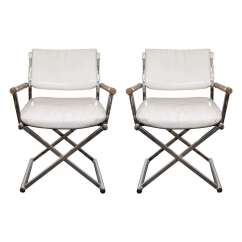 Directors Chair White Pottery Barn Table And Chairs Kids A Mid Century Pair Of Leather Director S W X Base At For Sale