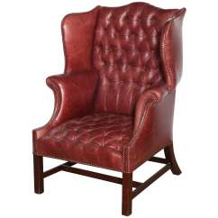 Leather Wingback Chairs Chair For Makeup Room 19th Century English Mahogany And Tufted Wing