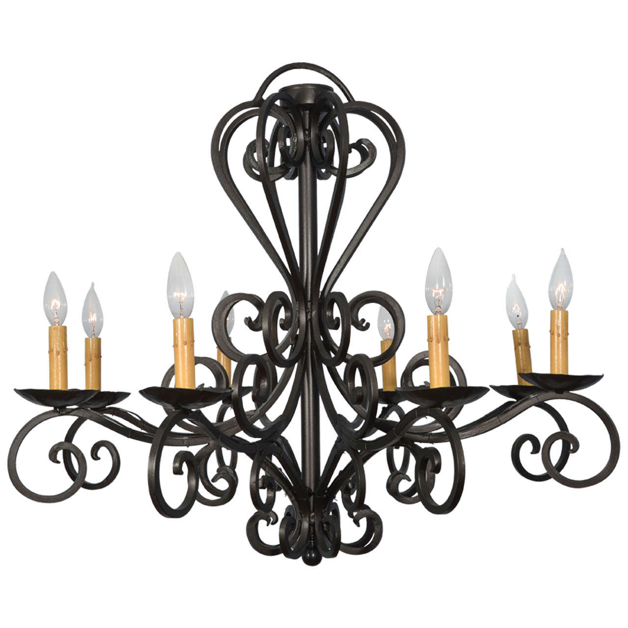 Hand-Wrought Iron Spanish, Eight-Light Chandelier at 1stdibs