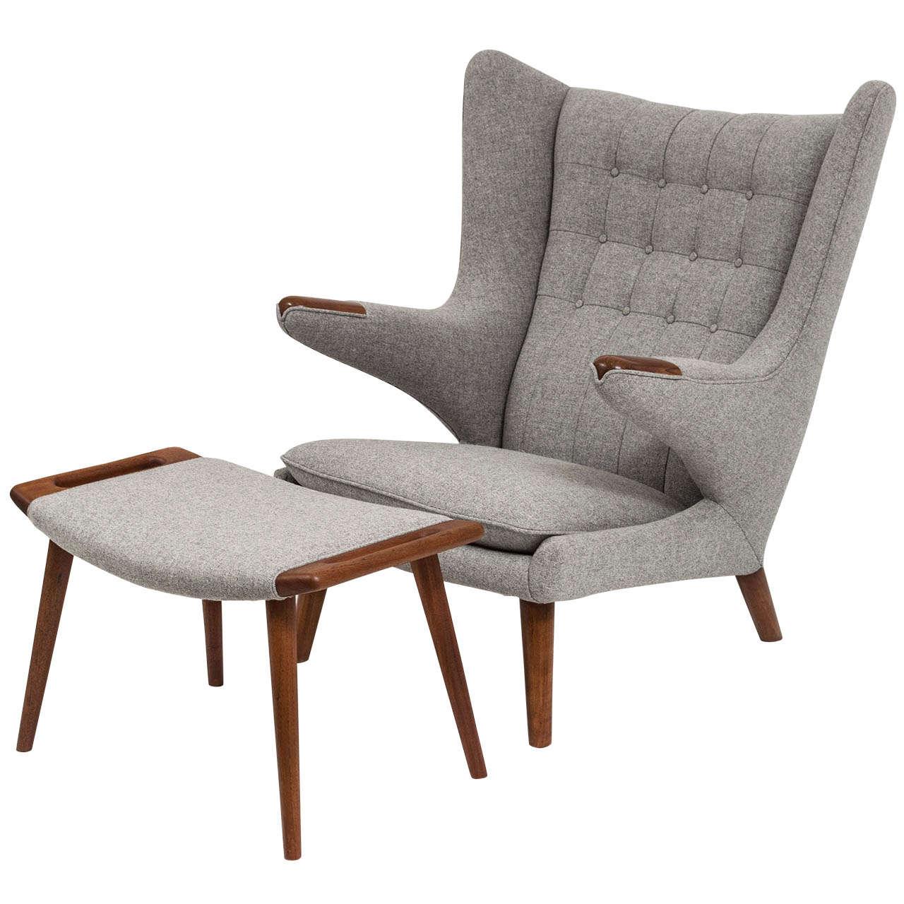 papa bear chair beautiful accent chairs hans j wegner and ottoman at 1stdibs