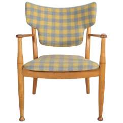 Bentwood Dining Chair Plastic Reclining Garden Chairs Uk Peter Hvidt In Yellow And Grey Check