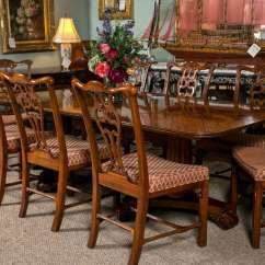 Henredon Chairs Dining Room Womb Chair And Ottoman Banded Crotch Mahogany Table At 1stdibs