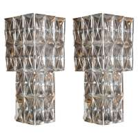 Pair of Art Deco Crystal Wall Sconces For Sale at 1stdibs
