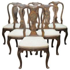 Hand Chairs Dancer On Chair Set Of Six 18th Century Painted Italian Lucca Vase
