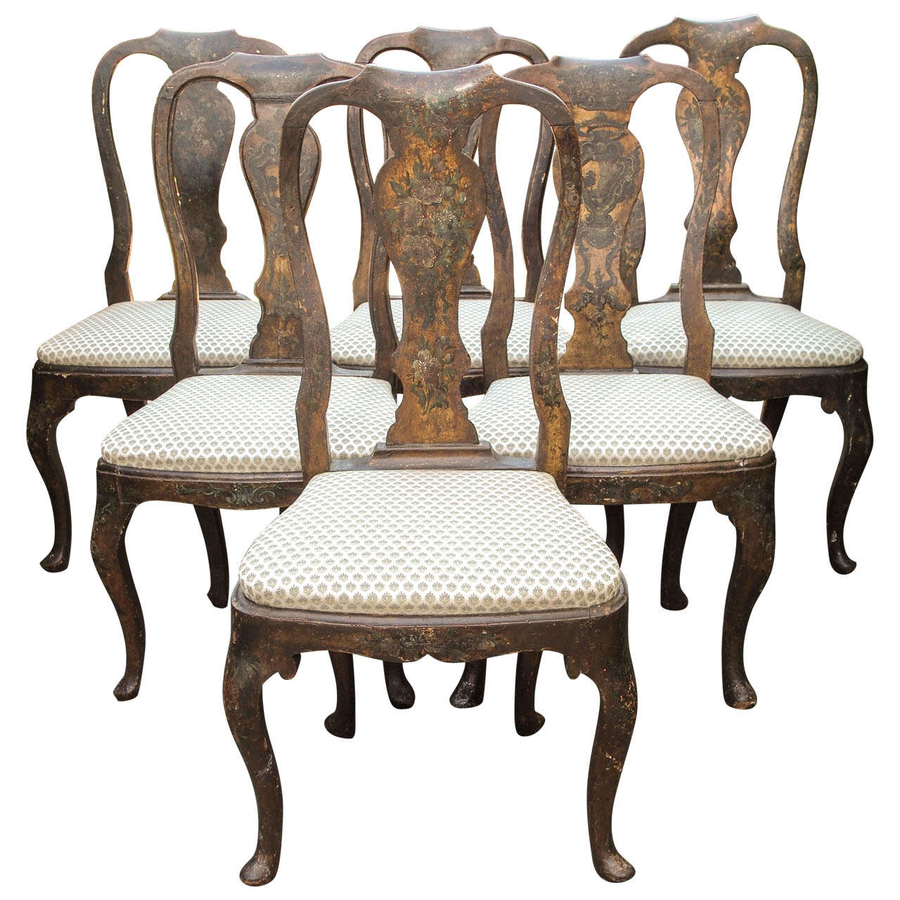 Hand Chairs Set Of Six 18th Century Hand Painted Italian Lucca Vase