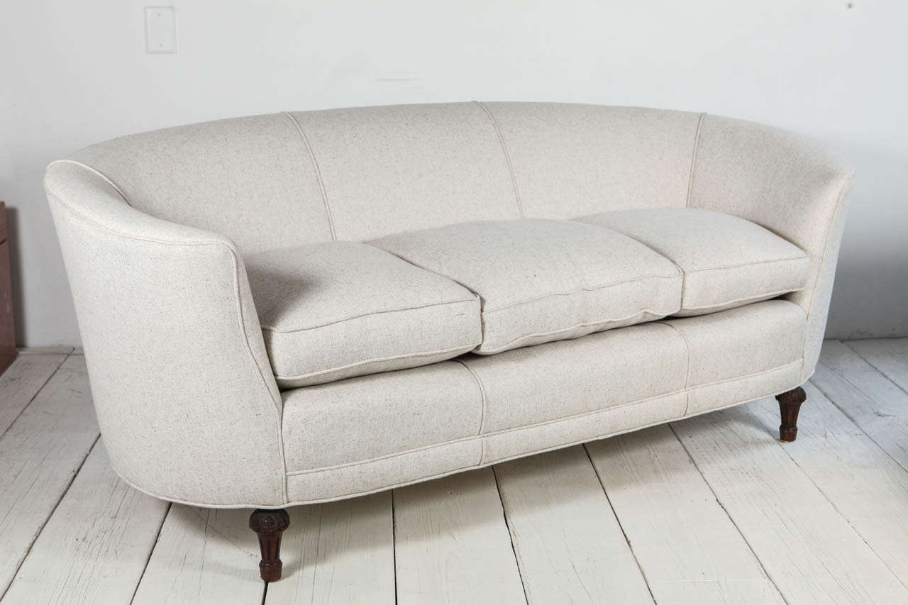 oval sofa mart coffee tables back curved in cream linen at 1stdibs