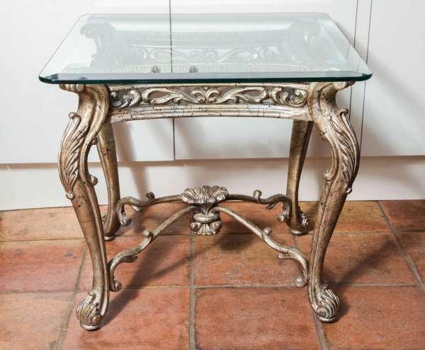 Antique Italian Rococo Gilt Silver Iron Square Side Table