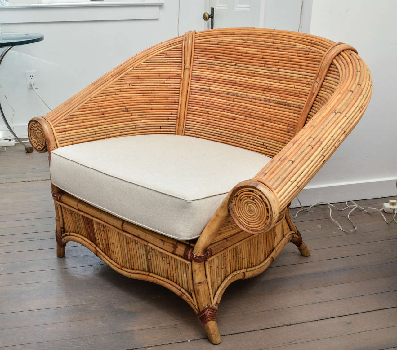 large wicker chair stackable resin adirondack with slat seat pair of rattan chairs upholstered linen