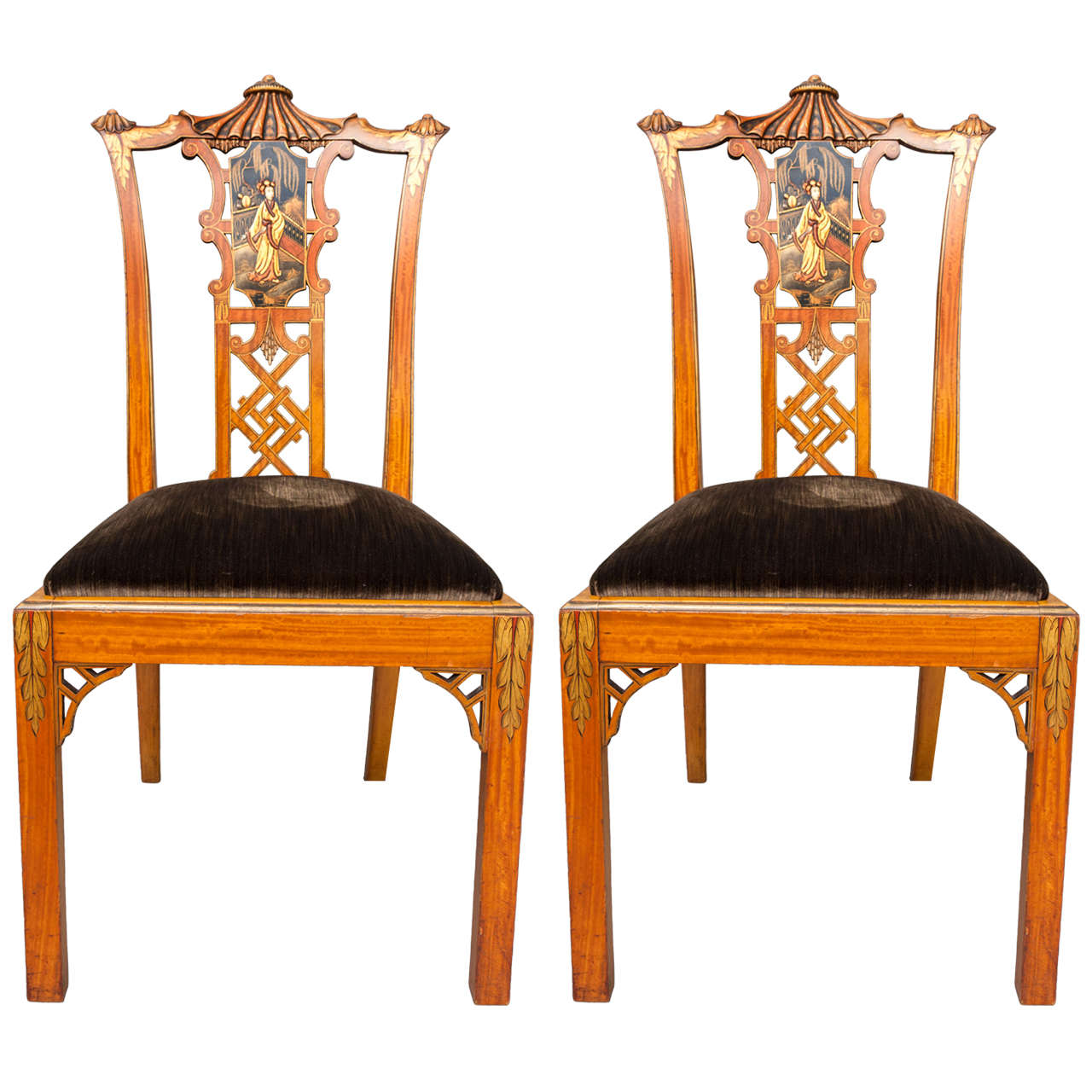 chinese chippendale chairs small chair cushions salomon hille attributed pair of revival
