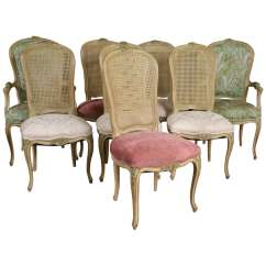 Louis Dining Chairs Peg Perego High Chair Canada Set Of Eight Xv Style Paint Decorated