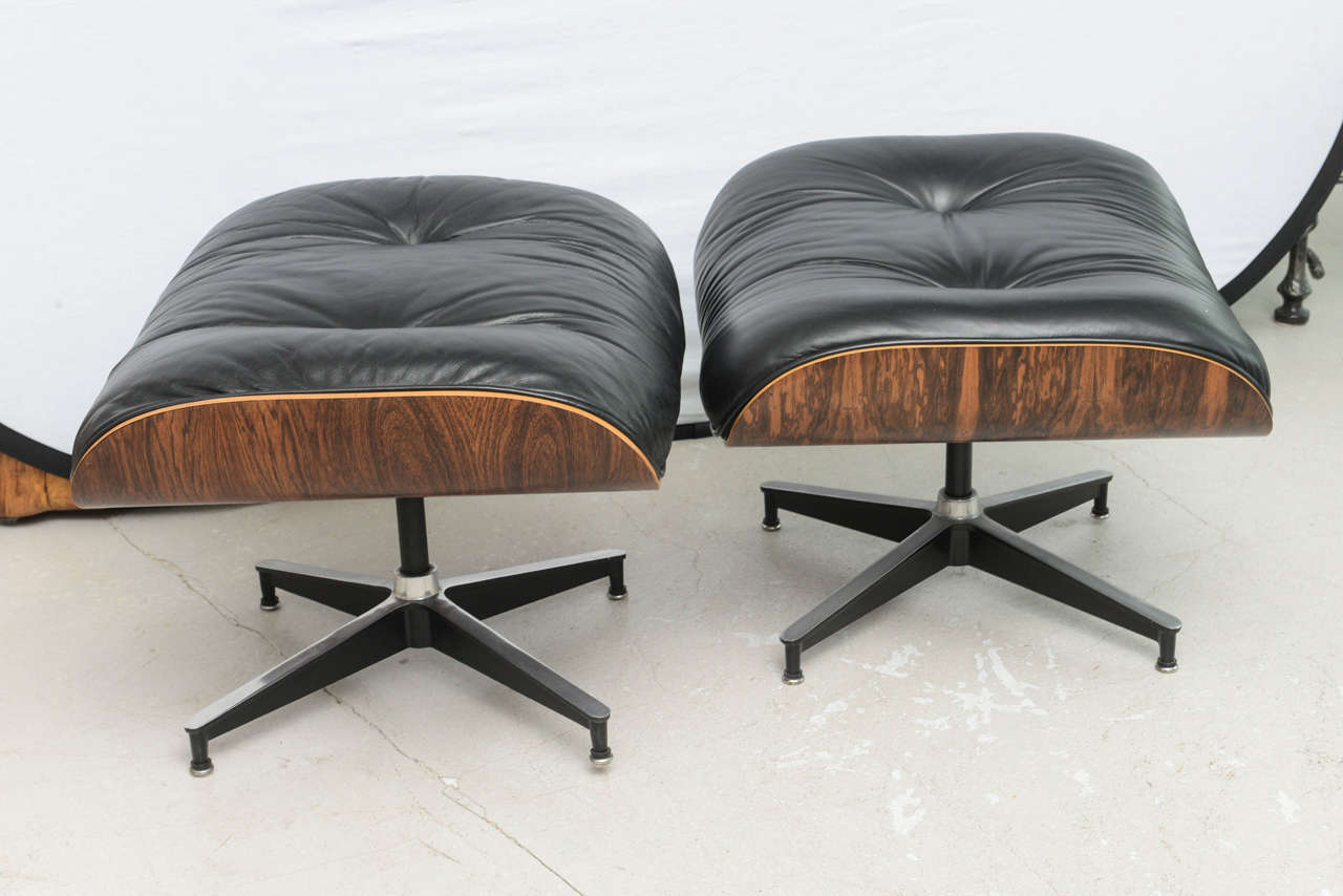 eames style lounge chair and ottoman rosewood black leather breezesta adirondack chairs two vintage