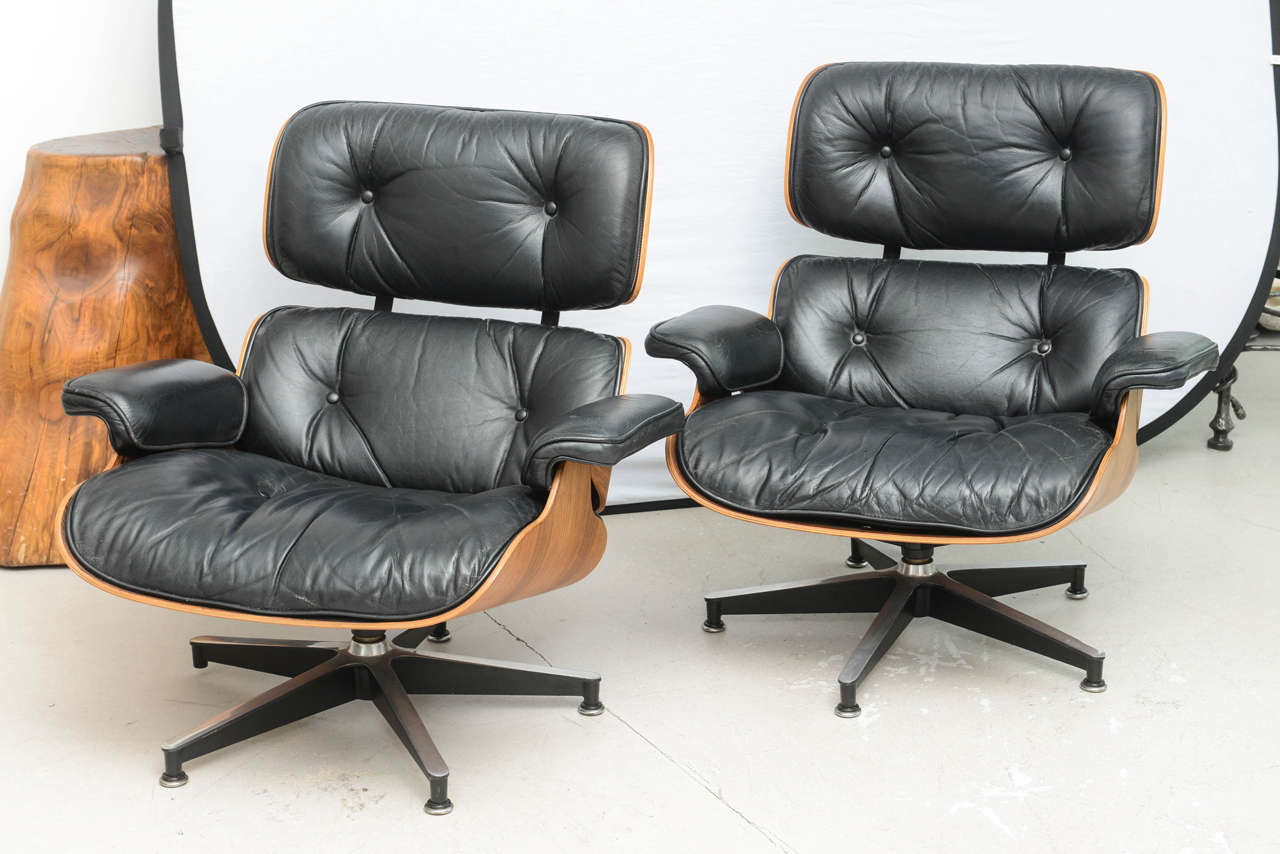 eames style lounge chair and ottoman rosewood black leather graco duo diner high two vintage chairs