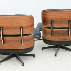 Eames Style Lounge Chair And Ottoman Rosewood Black Leather Baby Blue Wedding Covers Two Vintage Chairs