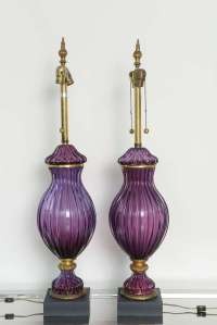 Large Pair of Vintage Purple Murano Glass Lamps, Marbro at ...