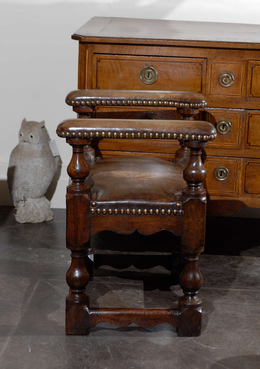 Early English Bench Of Leather And Oak With Arms At 1stdibs