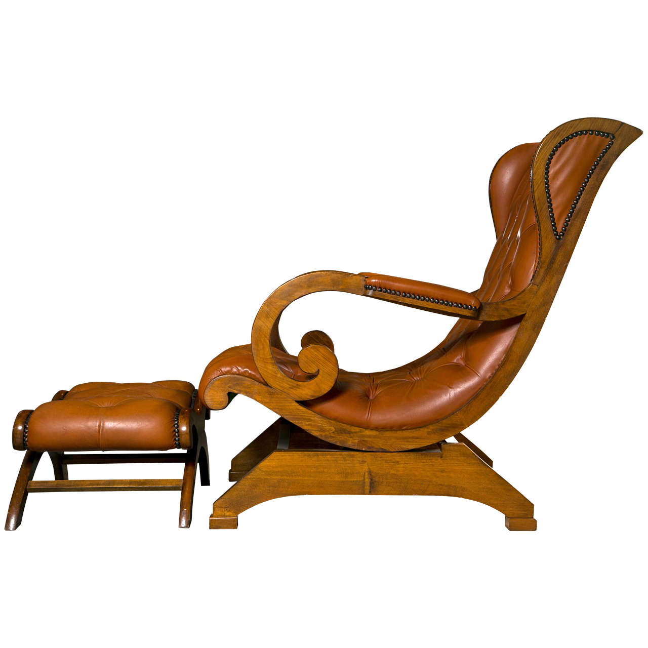 rocking chair with footstool india hanging frame australia tufted leather rocker and ottoman at 1stdibs