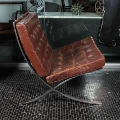 Barcelona Chair Leather Stool Argos Brown By Ludwig Mies Van Der Rohe For Knoll American Sale