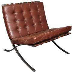 Mies Van Der Rohe Barcelona Chair Graco Girl High Brown Leather By Ludwig For Knoll Sale