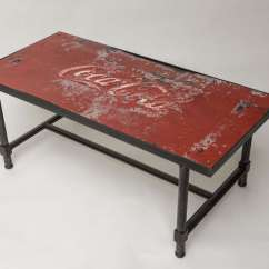 Coca Cola Chairs And Tables Chair Steel Leather 1950 39s Tin Top With Base Coffe Table At