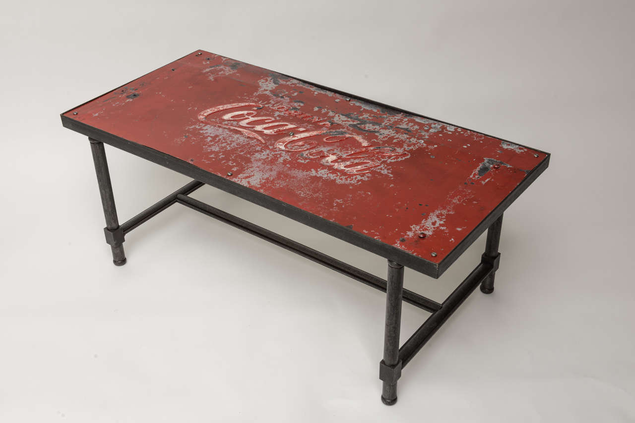 Coca Cola Table And Chairs 1950 39s Coca Cola Tin Top With Steel Base Coffe Table At
