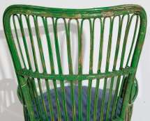 Green Wicker Armchair In Style Of Gio Ponti And Lio