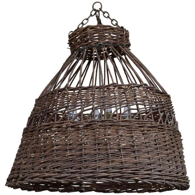 Antique French Poultry Basket Chandelier For