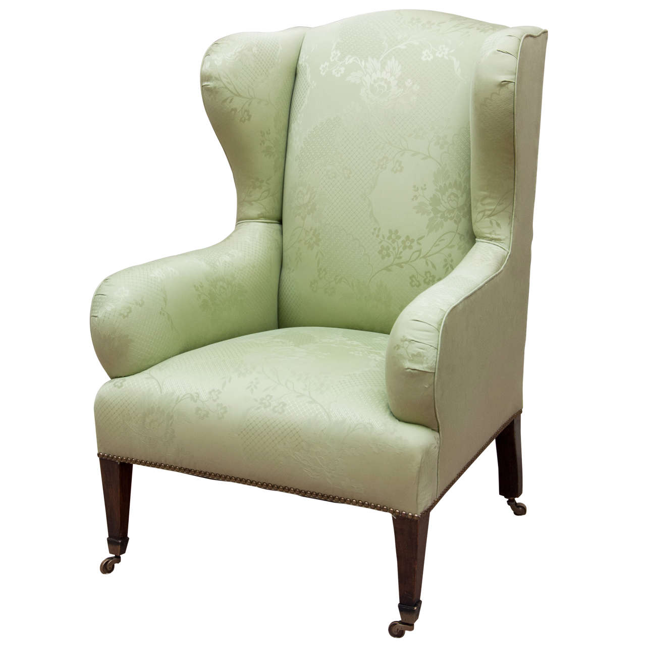 colonial wingback sofas high sleeper with sofa bed underneath regency mahogany leg wing chair in damask at 1stdibs