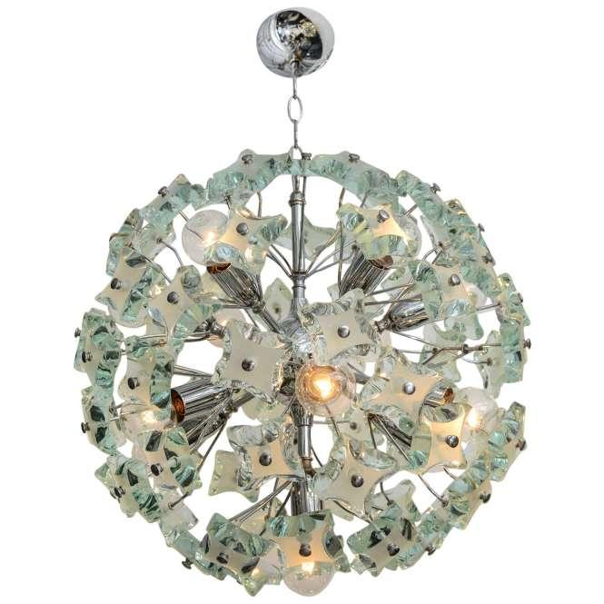 60 S Italian Green Glass Sputnik Chandelier For