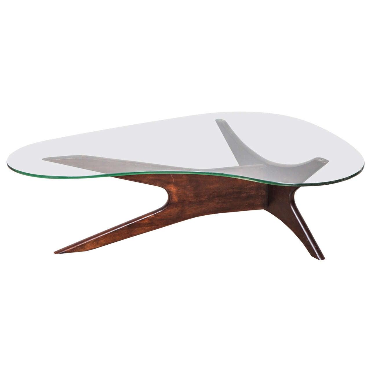Mid Century Glasstop And Walnut Biomorphic Coffee Table