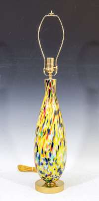Mid Century Pair of Brightly Colored Italian Glass Lamps ...