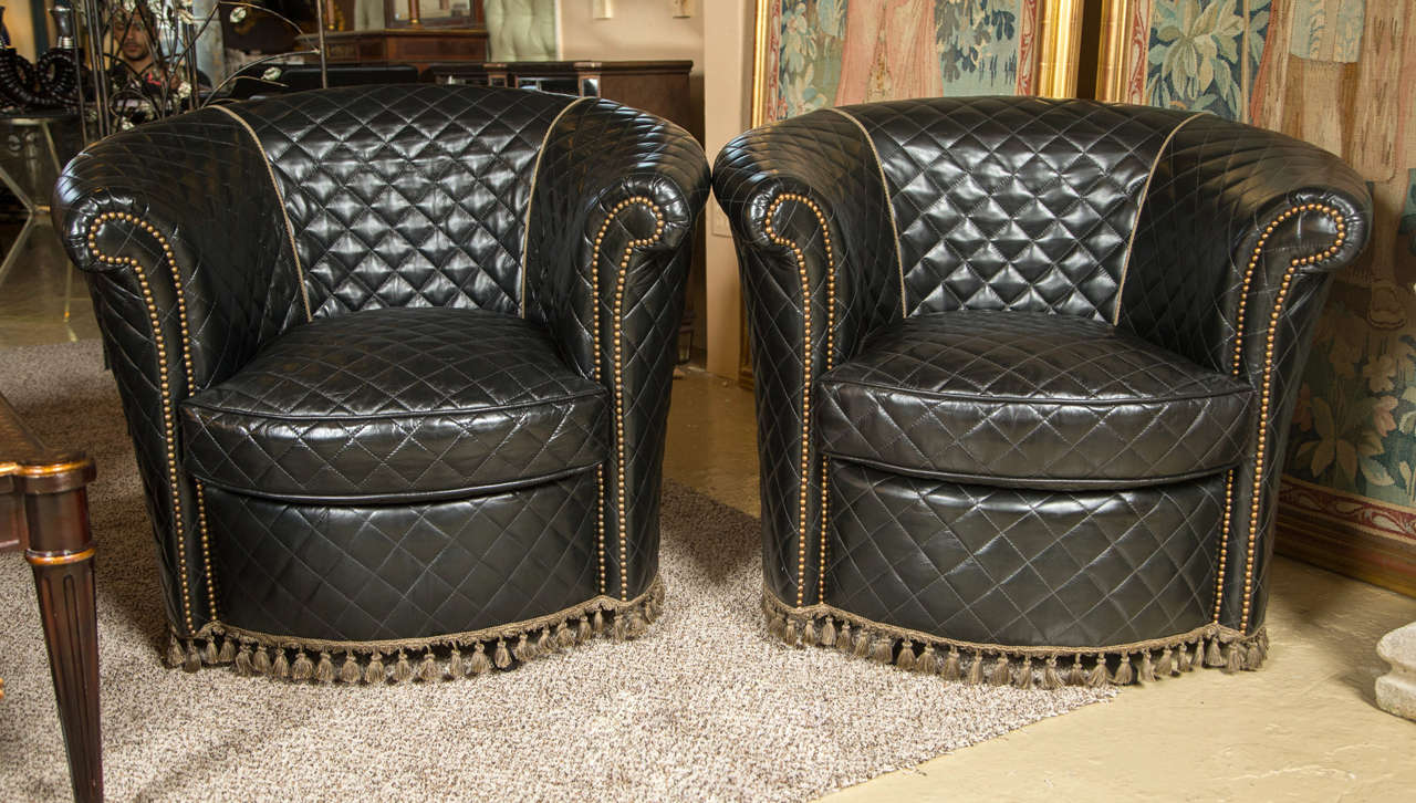 leather swivel barrel chair high back office slip covers a group of four coco chanel styled chairs at 1stdibs