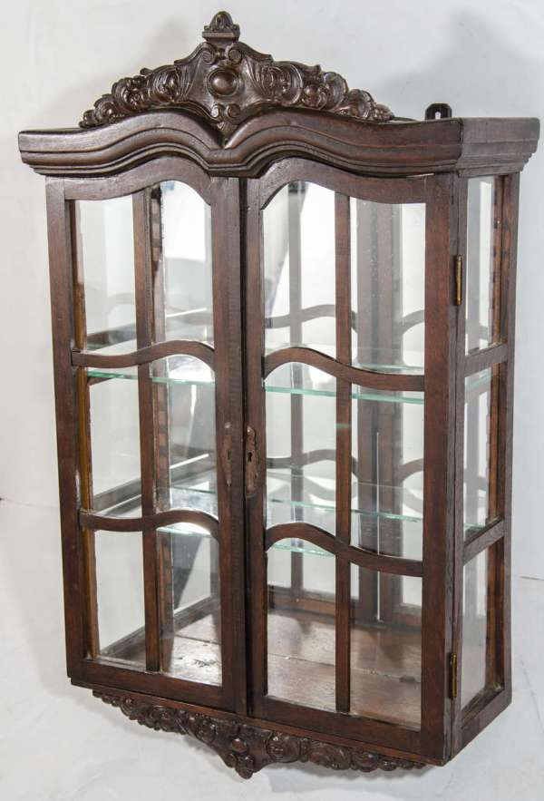 Antique Victorian Curio Wall Mount Cabinet With Carved