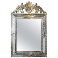 Vintage Venetian Beveled Wall Mirror with Reverse Etched ...