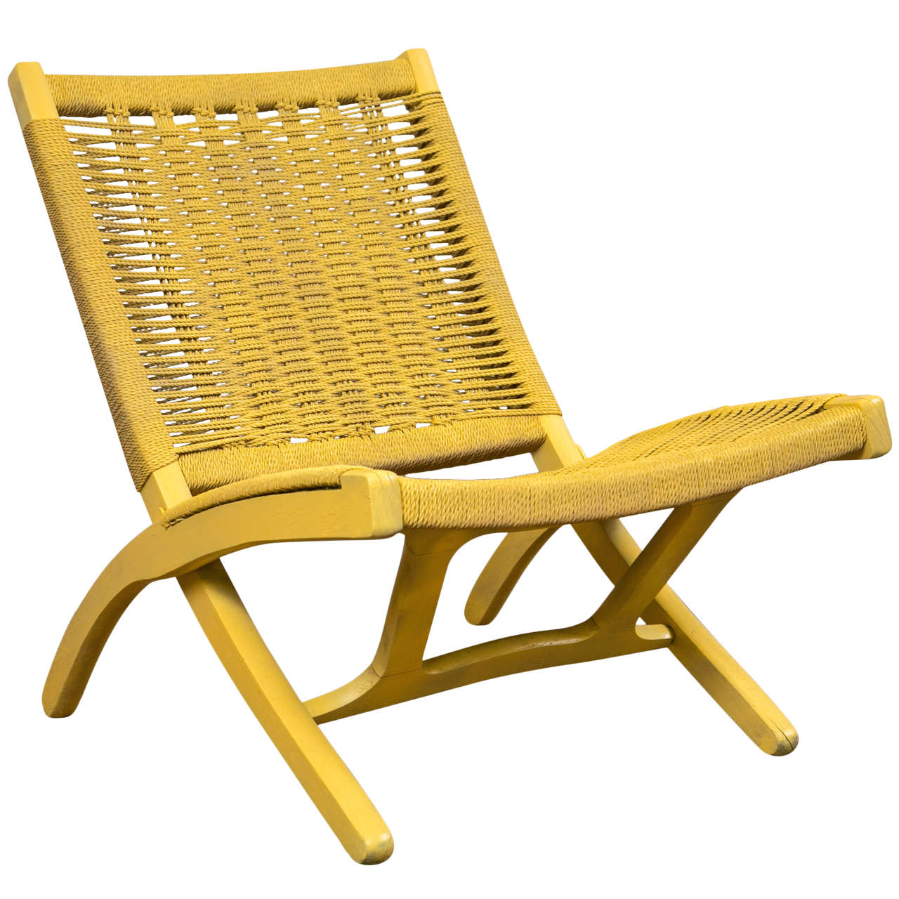 folding chair yellow kingpin canada pale rope in the style of hans wegner