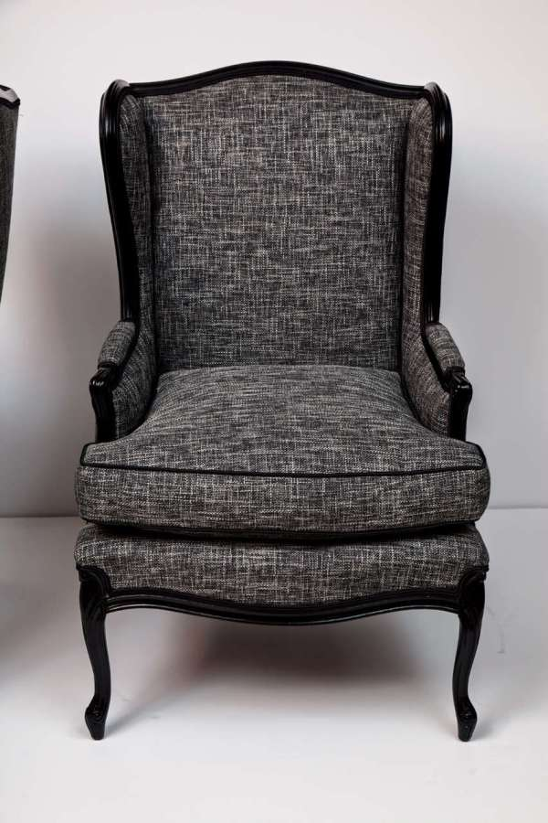 Pair Of Tall Wingback Chairs 1stdibs