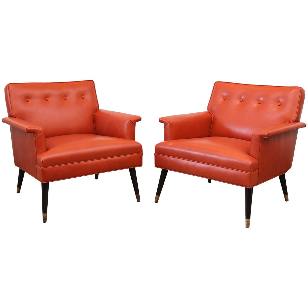 Orange Leather Chair Pair Of Orange Leather Mid Century Armchairs At 1stdibs