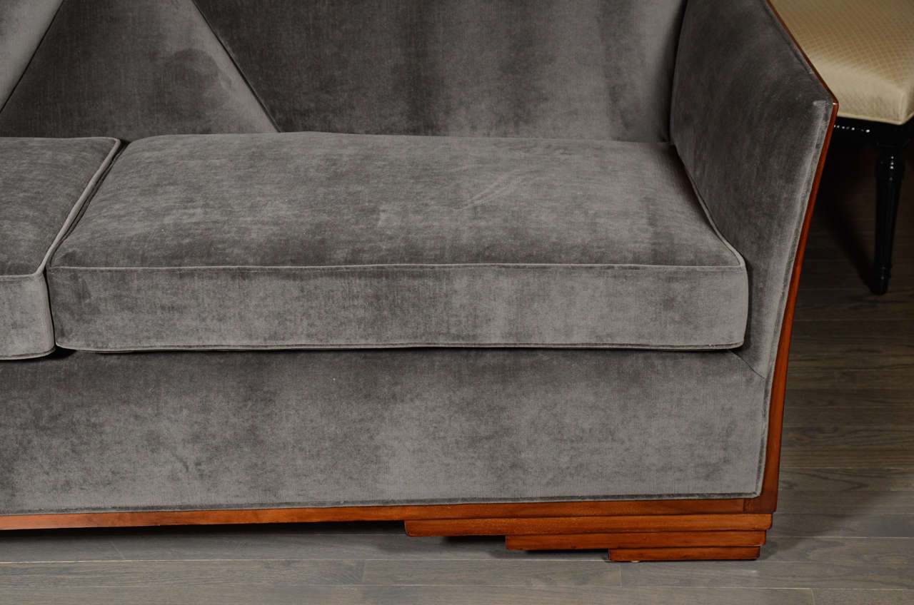 finn juhl poet sofa sale wrought iron table legs cubist art deco skyscraper style in luxurious grey ...