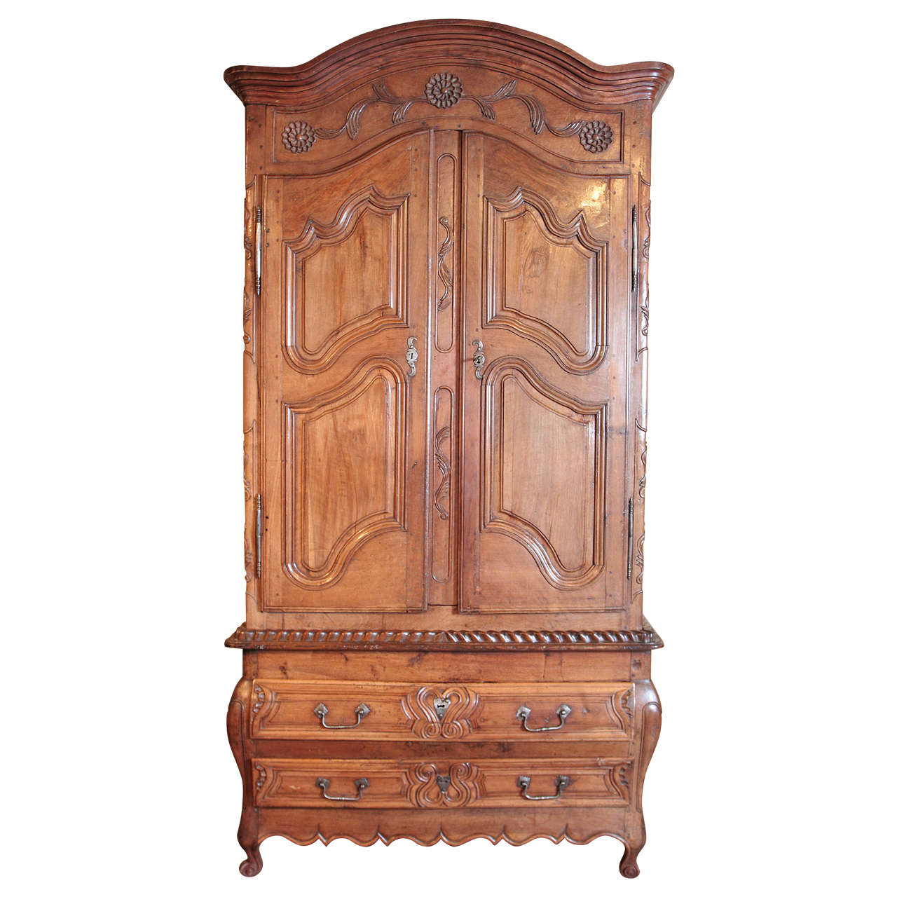 18th century french louis xv carved walnut armoire pantalonniere from provence for sale