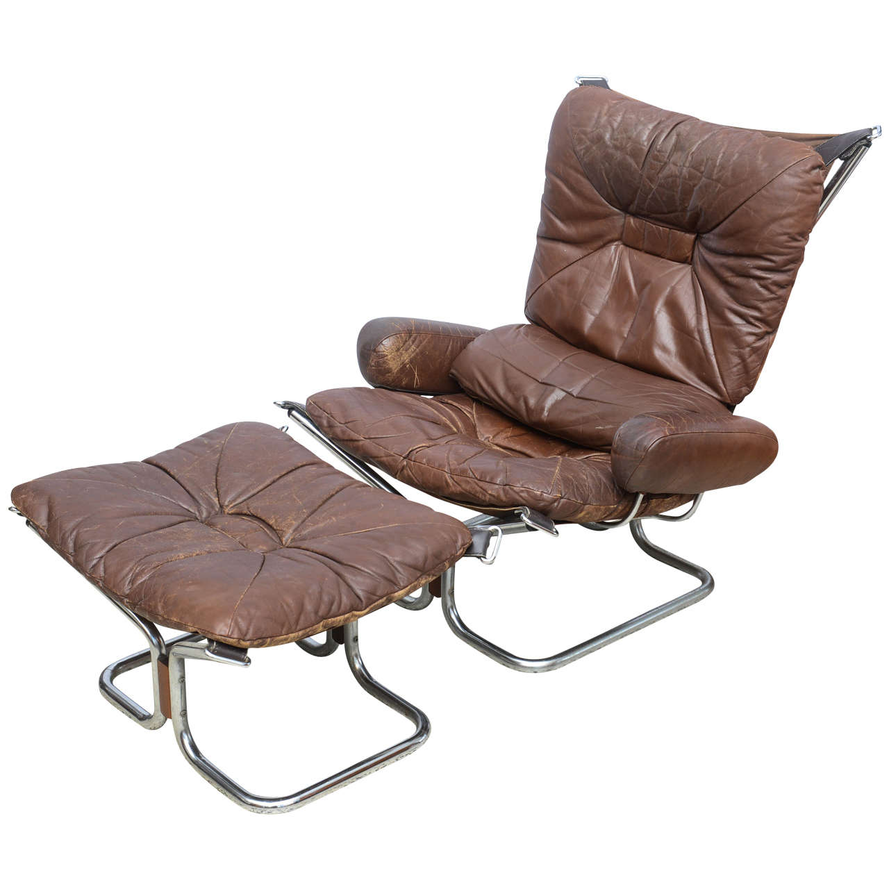 Leather Chair And Ottoman Ingmar Relling For Westnofa Chrome And Leather Chair And Ottoman Norway 1970s